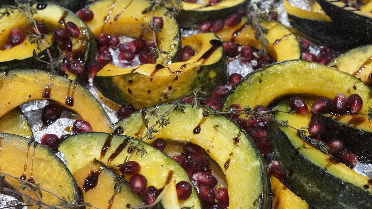 Roasted Kabocha Squash with Thyme and Pomegranates
