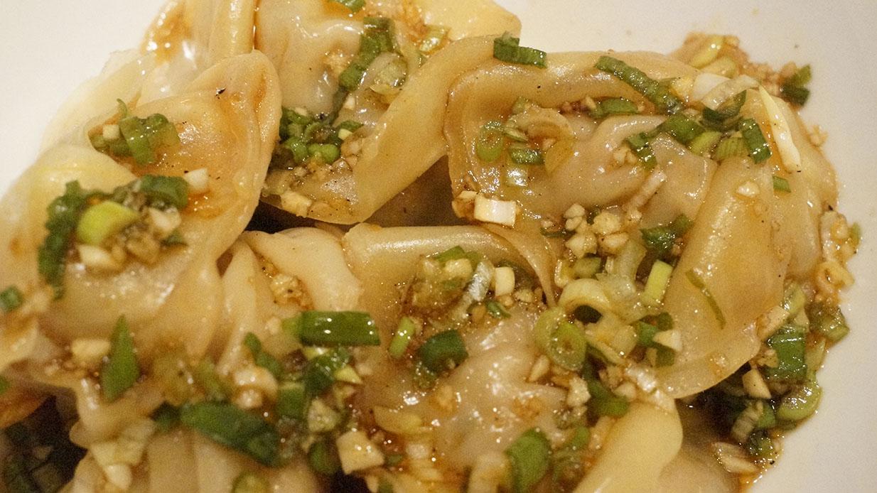 Pork Dumplings with Sichuan Sauce