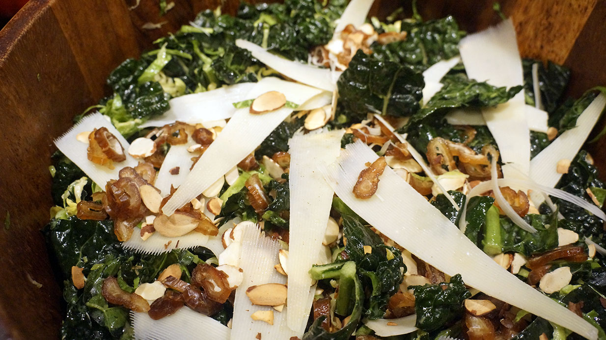 Kale and Brussels Sprouts Salad with Dates, Parmesan and Almonds