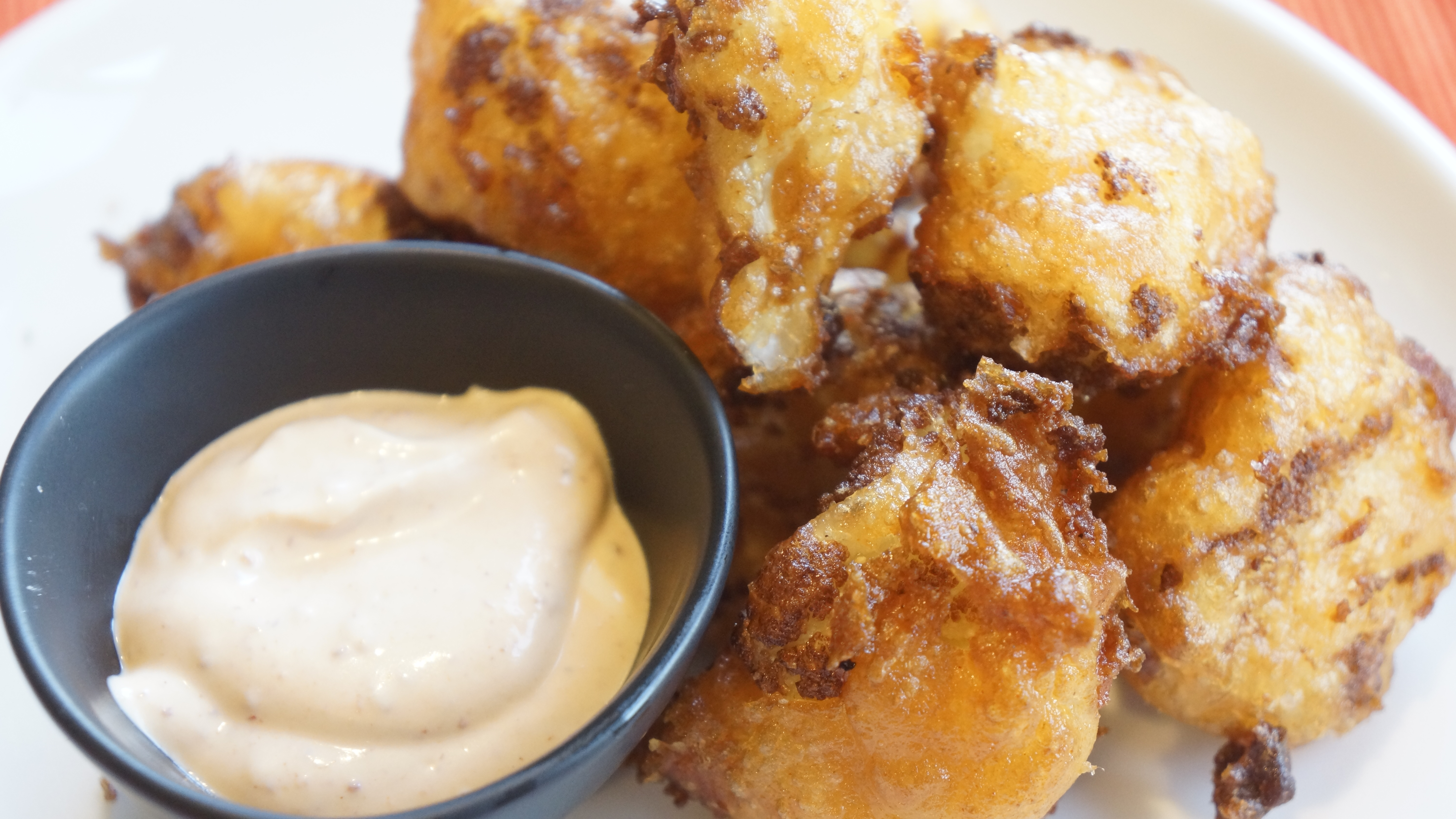 Cauliflower Tots with Harissa Dipping Sauce