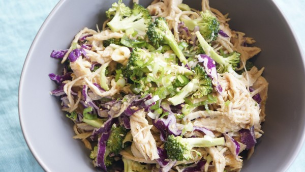 Chicken and Broccoli Slaw with Peanut Dressing