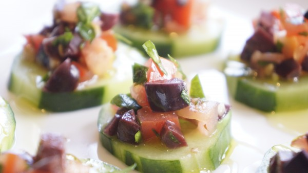 Olive and Tomato Salsa on Cucumber Coins