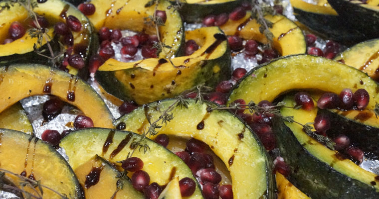 Roasted Kabocha Squash with Thyme and Pomegranates